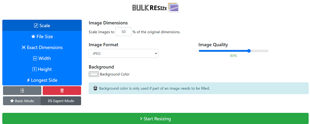 Bulk Resize Photos Image Setting