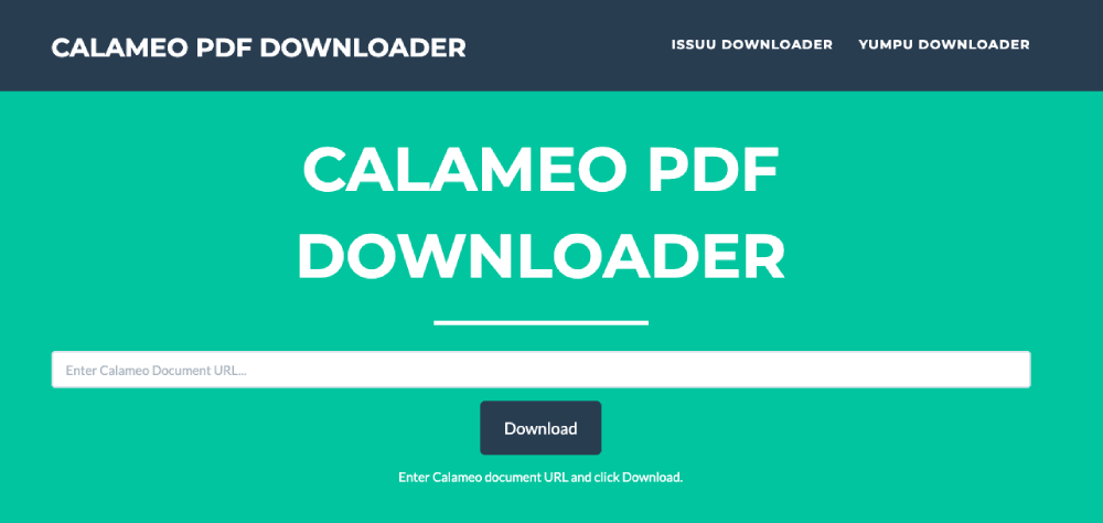 Calameo PDF Downloader Homepage
