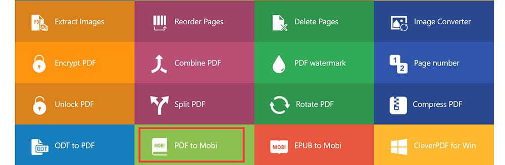 CleverPDF Homepage PDF to Mobi