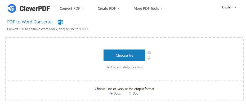 CleverPDF PDF to Word Choose File