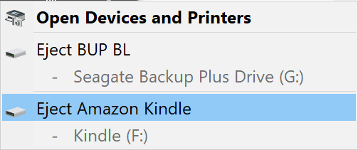 Computer Eject Amazon Kindle