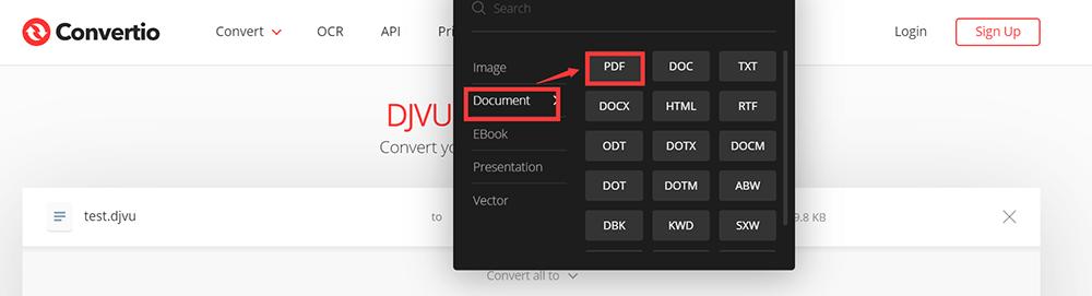 Convertio PDF 형식 선택