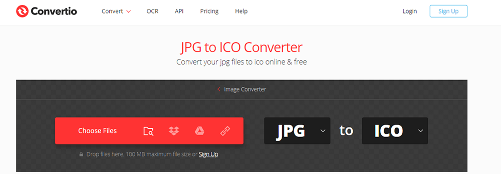 Convertio JPG to ICO Choose Files