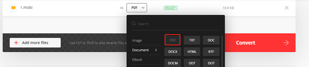 Convertio Mobi to PDF Choose PDF Format