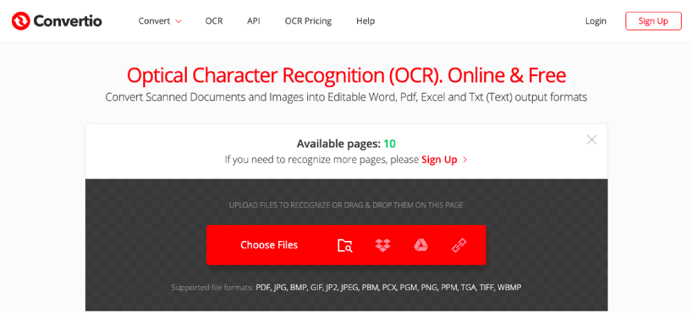Convertio OCR Online Choose Files