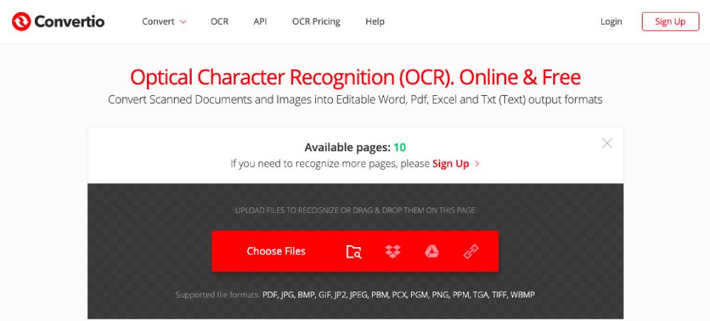 Convertio OCR 온라인 파일 선택