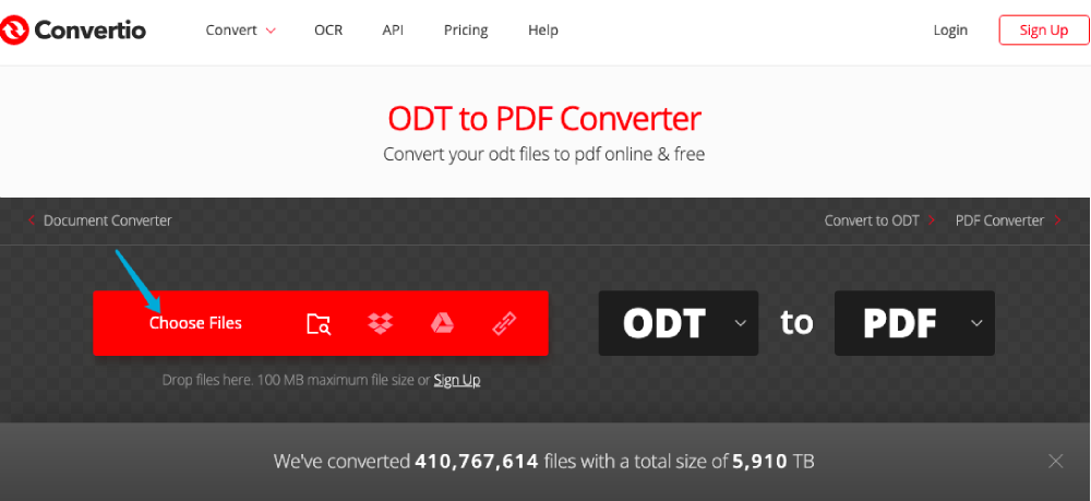 Convertio ODT to PDF Choose Files