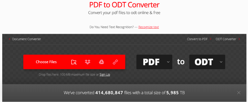 Convertio PDF to ODT Choose Files