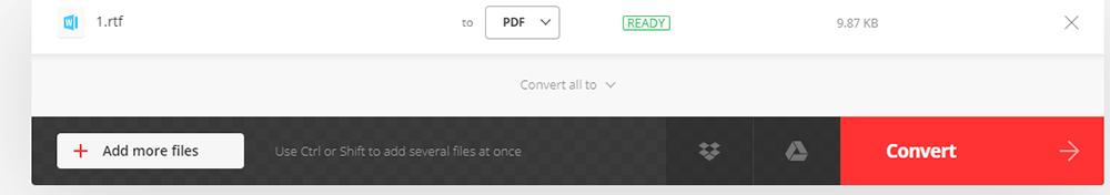 Convertio RTF를 PDF로 변환