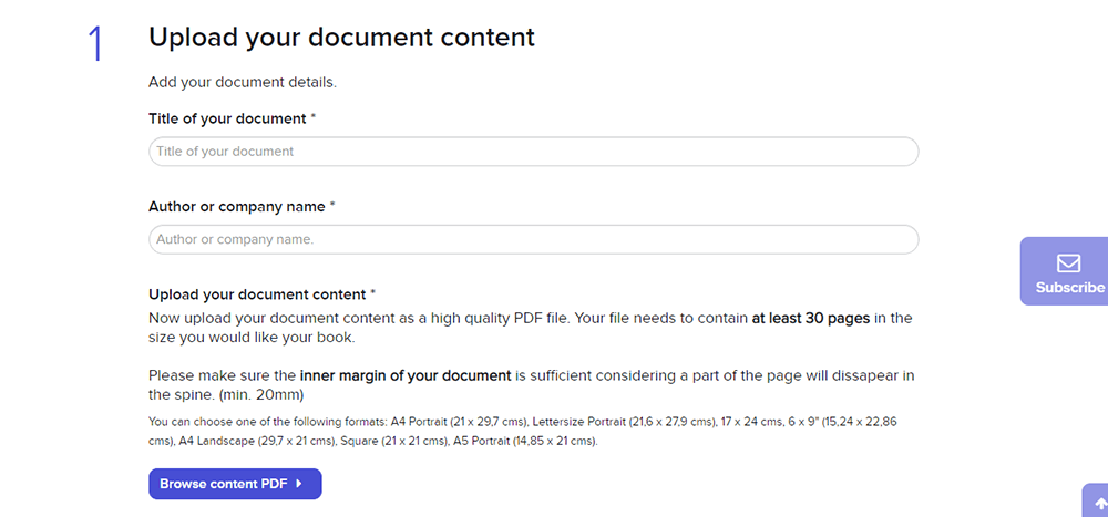Create My Books Upload Your Document Content