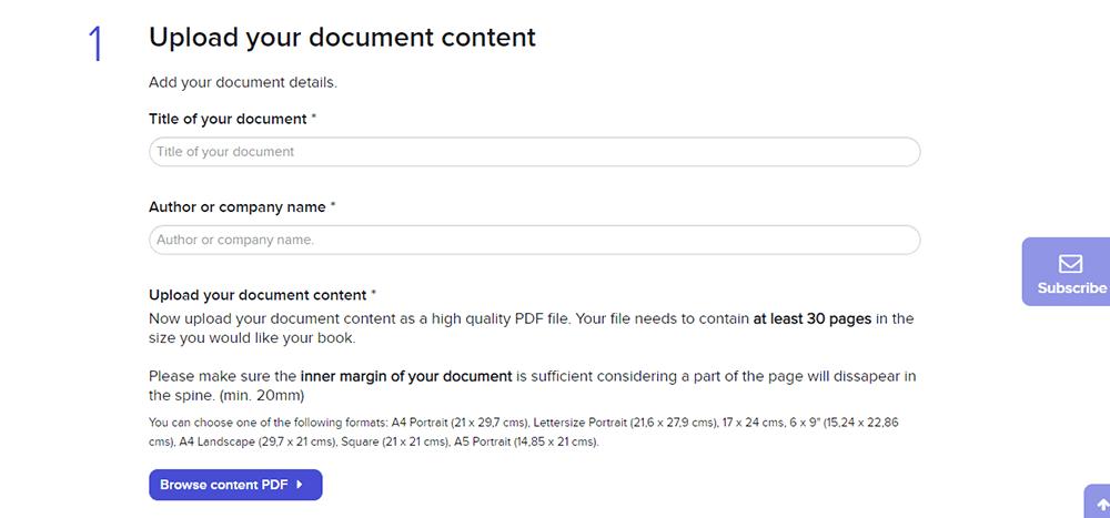 Crear mis libros Cargar el contenido de su documento