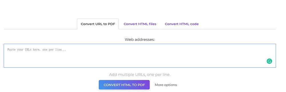 DeftPDF HTML a archivo de carga PDF