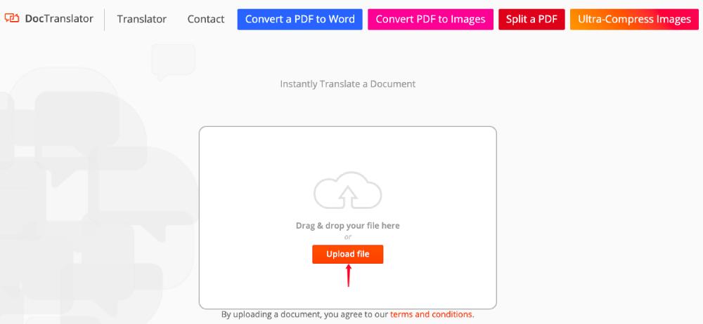 DocTranslator Upload File
