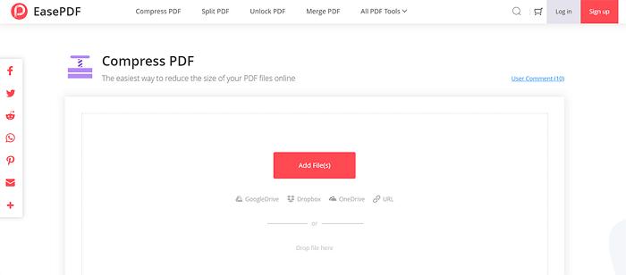 EasePDF Compress PDF Add File
