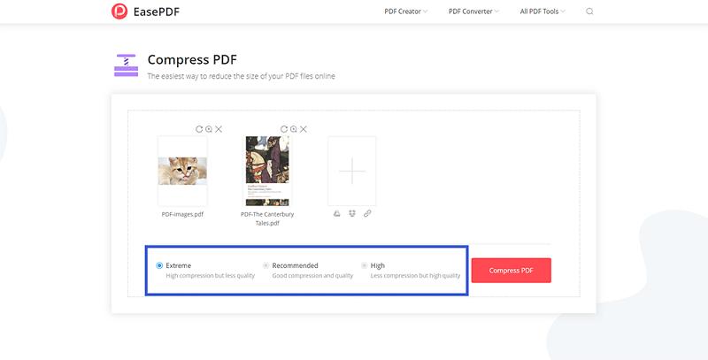 EasePDF 압축 PDF 모드