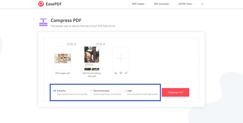 EasePDF Compress PDF Modes