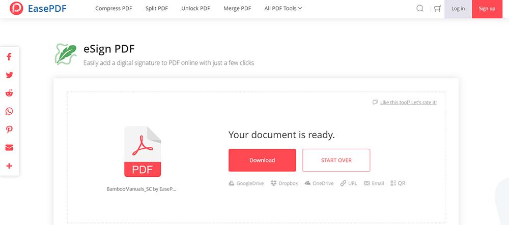 EasePDF eSign PDF Download File