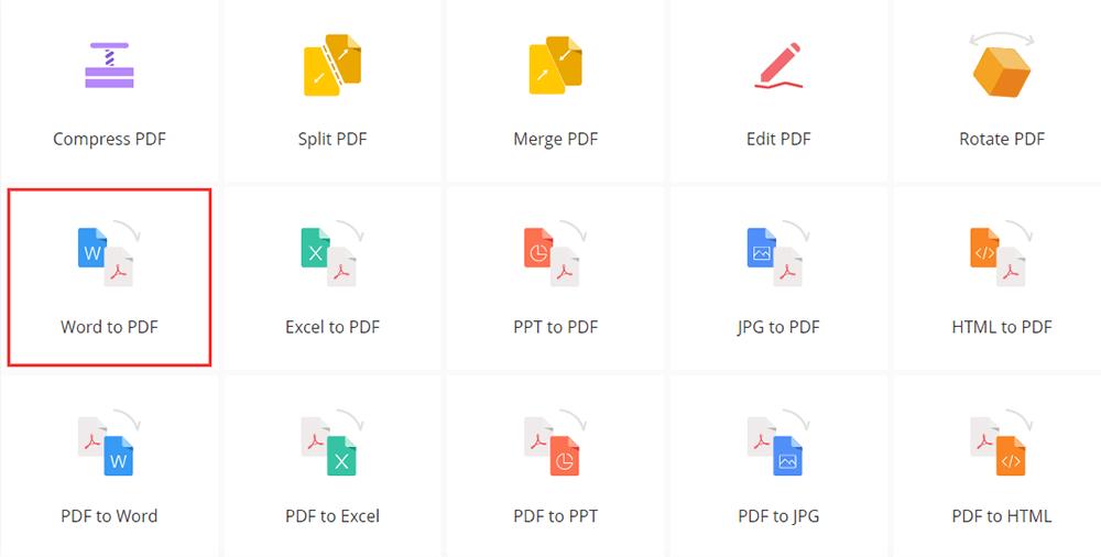 EasePDF Homepage Word to PDF