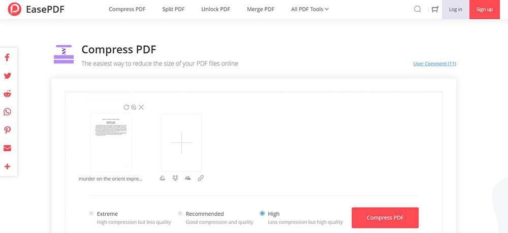 EasePDF PDF Compressor Wählen Sie die Komprimierungsrate aus