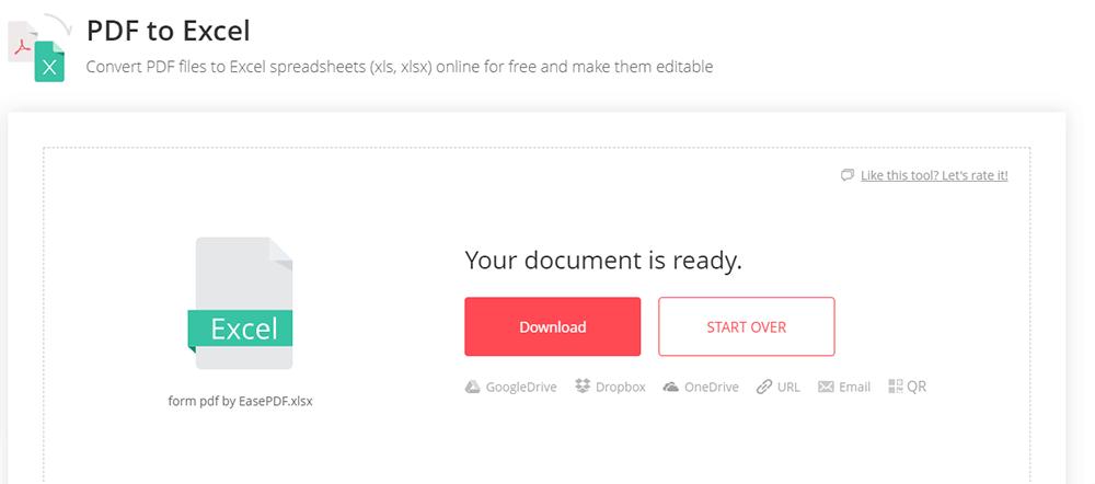 EasePDF PDF to Excel Download Files