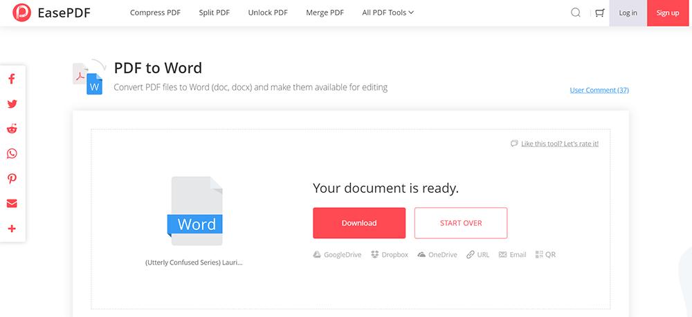 EasePDF PDF to Word Download File