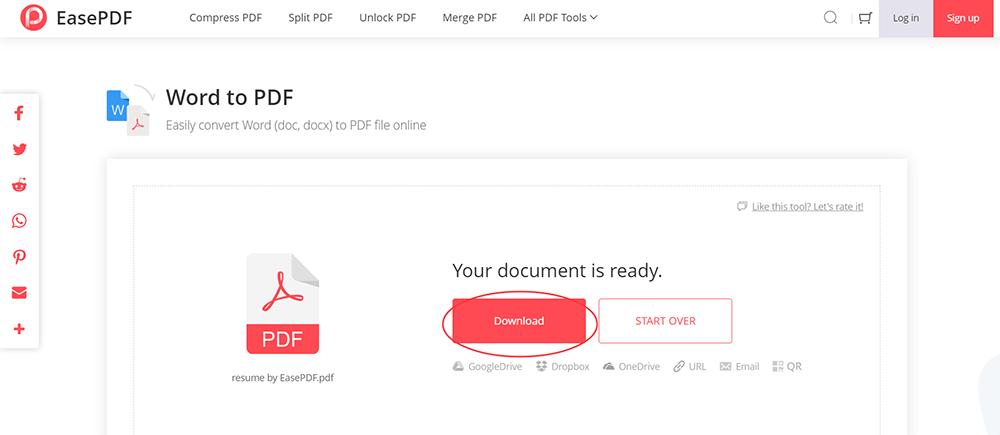 EasePDF Word to PDF Download PDF Resume