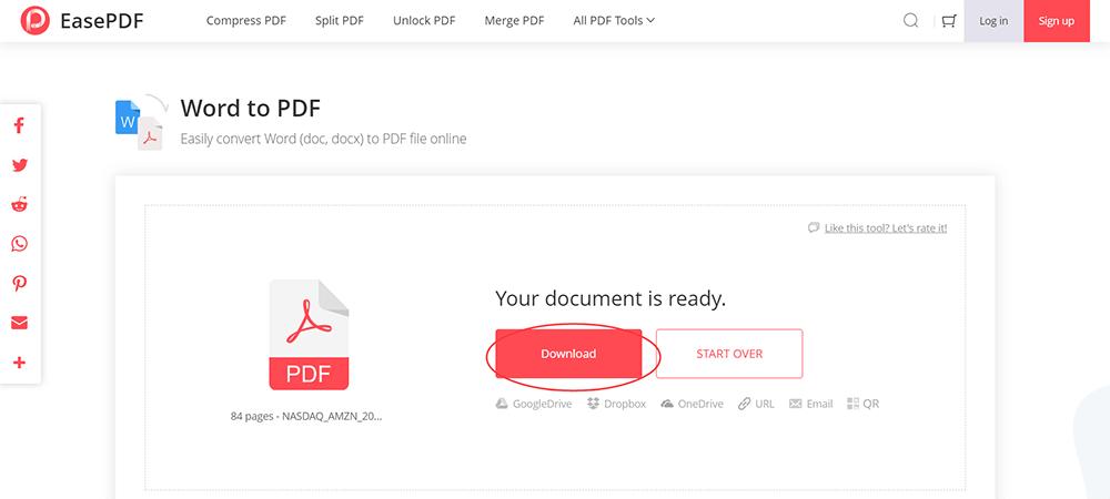 EasePDF Word to PDF Download PDF