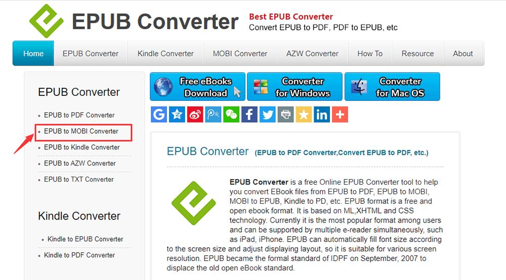 Convertitore Epub Convertitore da Epub a Mobi