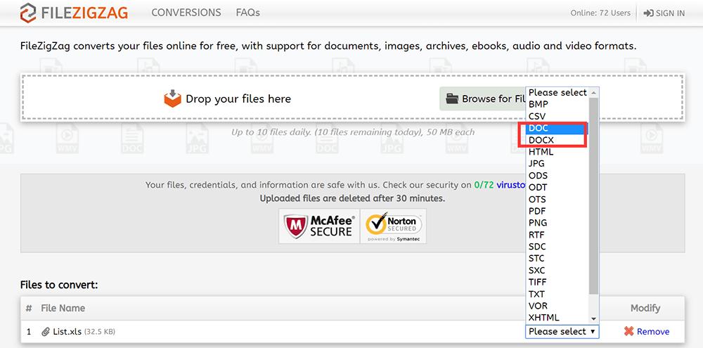 FileZigZag Wählen Sie das Word-Format