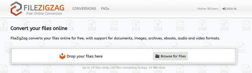 FileZigZag Homepage Upload Files