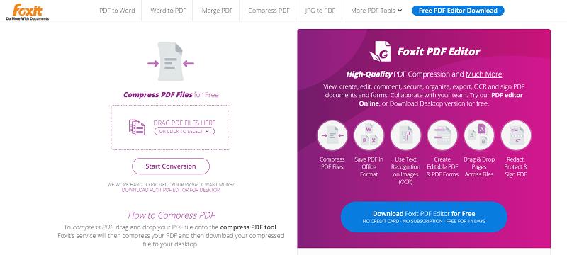 Foxit Online Compress PDF