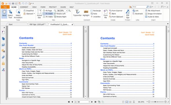 Foxit PDF Comparar PDF horizontalmente