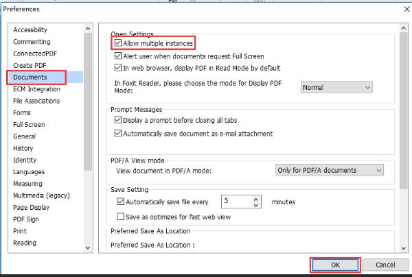 Preferencias de Foxit PDF Abrir configuración