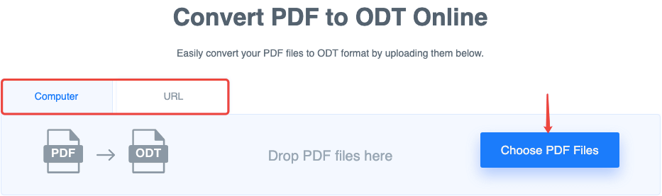FreeConvert PDF to ODT Add Files