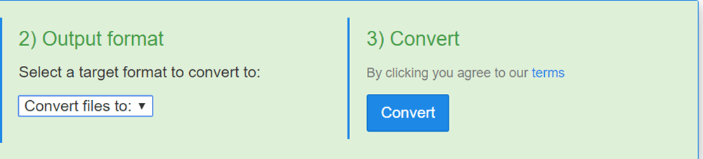 FreeFileConvert Select Output Format