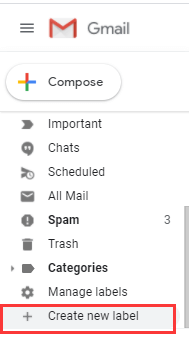 Gmail Sidebar Create New Label