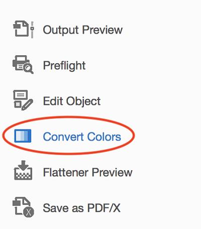 Go to Convert Colors in Adobe Acrobat