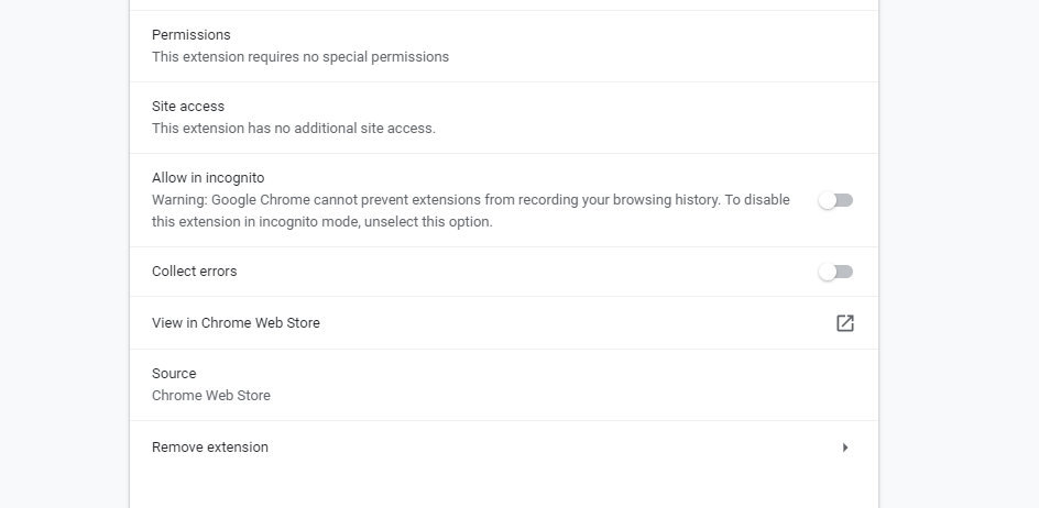 Google Chrome Extension Setting