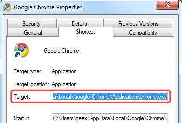 Proprietà di Google Chrome