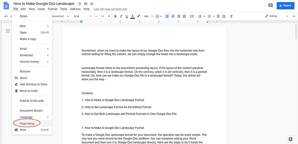 Google Doc Page Setup