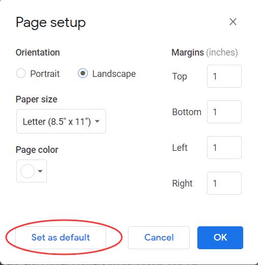 Google Doc Set Landscape As Default