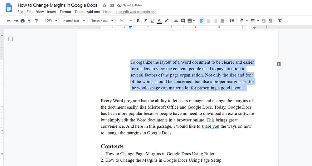 Google Docs Change Left and Right Margins