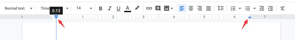Google Docs Change the Top Ruler