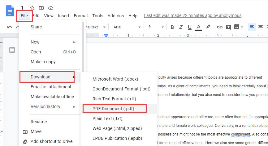 Google Docs Download PDF