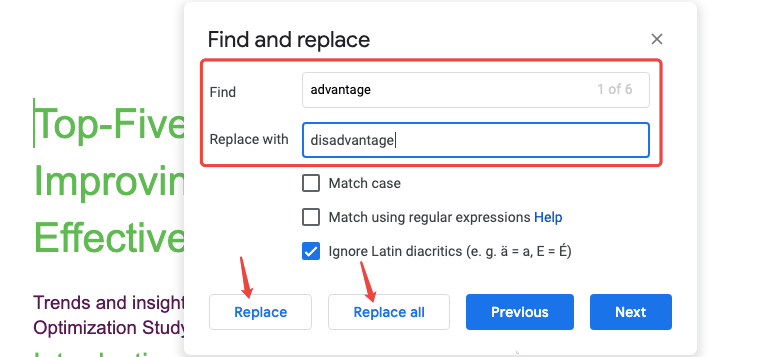 Google Docs Find And Replace Example