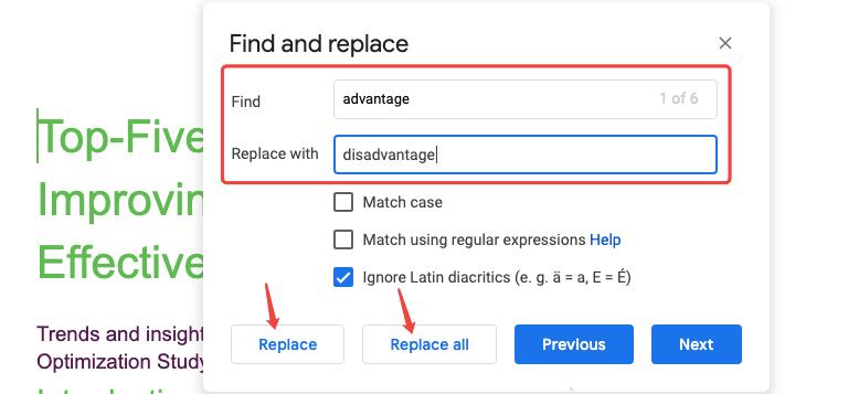 Ejemplo de búsqueda y reemplazo de Google Docs