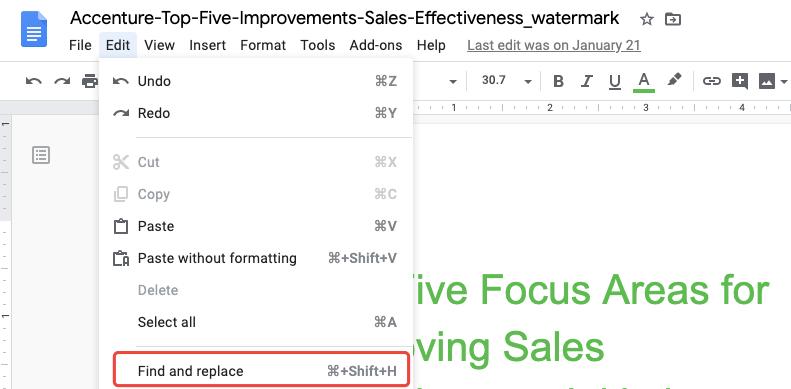 Google Docs & Tabellen suchen und ersetzen
