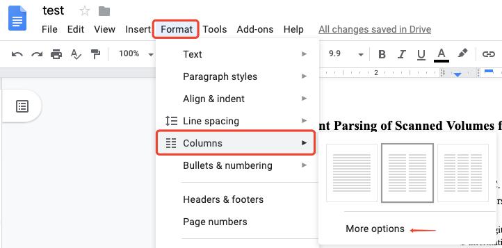 Google Docs Format Column