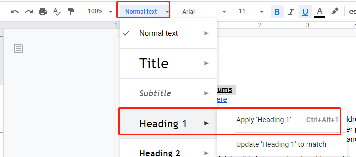 Google Docs Heading Setting