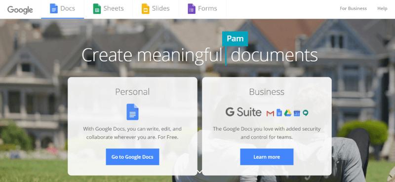 Google Docs 홈페이지